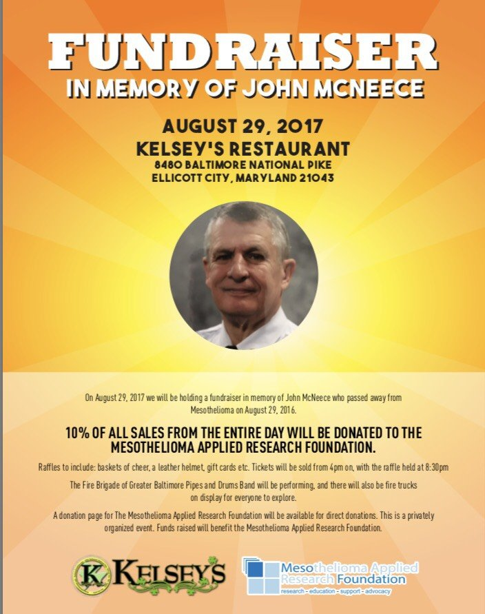 August 29th, 2017;  Fundraiser in Memory of John McNeece